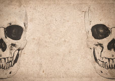 Halloween background with skull on old vintage newspaper. Halloween background with human skull on old vintage newspaper stock photography