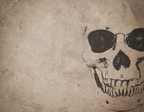 Halloween background with skull on old vintage newspaper Stock Photography
