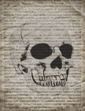 Halloween background with skull on old vintage newspaper. Halloween background with human skull on old vintage newspaper stock images