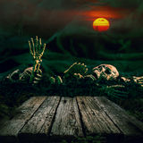 Halloween background. Skull and skeleton with full moon and wood Royalty Free Stock Photos