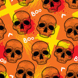 Halloween background with skulls and creepy symbols in dotwork style. Royalty Free Stock Photography