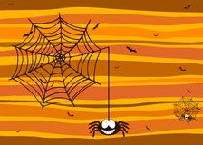 Halloween background with smiling spider, spiderweb and bats. Motif Royalty Free Stock Photos