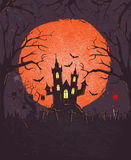 Halloween background with space for text and old style grunge texture, vector & illustration Royalty Free Stock Photography