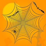 Halloween background. Spider bats and graves. Royalty Free Stock Images