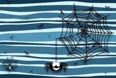 Halloween background with spider, cobweb and bats - drop shadow Stock Photography