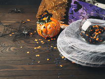 Halloween background with spider net and confetti Stock Images