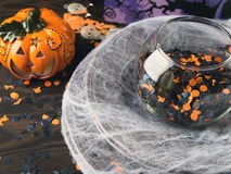 Halloween background with spider net and pumpkin Stock Photo