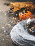 Halloween background with spider net and pumpkin. Vertical Royalty Free Stock Photo