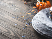 Halloween background with spider net and squash Royalty Free Stock Photography
