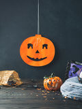 Halloween background with spider net and squashes Stock Photography