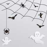 Halloween Background. Spider web with flying ghosts and bats. Stock Photo