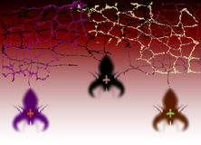 Halloween background with spiders and cobwebs Stock Photos
