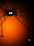 Halloween background with spiders and place for te Stock Photo