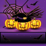 Halloween background. Halloween background with spiderweb, bats, pumpkins and broomstick Stock Photo