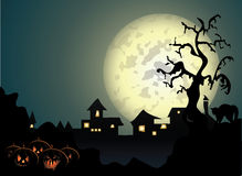 Halloween background with spooky Stock Photos