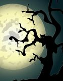 Halloween background with spooky. Tree and cat in editable vector format Royalty Free Stock Photos