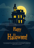 Halloween background with spooky castle. Vector illustration Stock Image