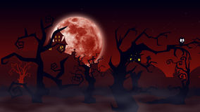 Halloween background. Spooky forest with dead trees and bats Royalty Free Stock Images