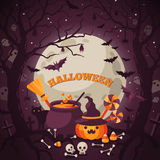 Halloween Background with Spooky Forest. Royalty Free Stock Image