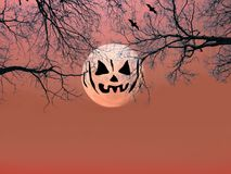 Halloween background. Spooky forest with silhouette dead trees a. Nd full moon on red sky. scary scene wallpaper with copy space for halloween background royalty free stock photography