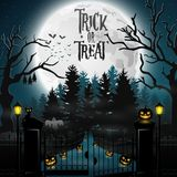 Halloween background with spooky graveyard. Illustration of Halloween background with spooky graveyard Stock Photo