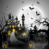 Halloween background with spooky graveyard. Illustration of Halloween background with spooky graveyard Royalty Free Stock Image
