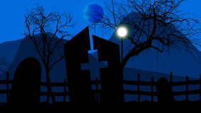 Halloween background with spooky graveyard Royalty Free Stock Images