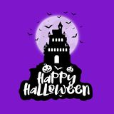 Halloween background with spooky house against moon. With bats Vector Illustration