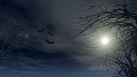 Halloween background with spooky trees Stock Photo