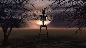 Halloween background with spooky trees and skeleton Royalty Free Stock Image