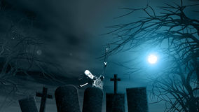 Halloween background with spooky trees and skeleton Royalty Free Stock Images