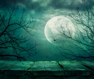 Halloween background with table Stock Photos