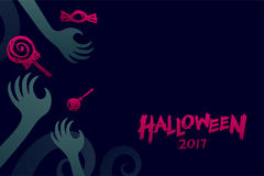 Halloween 2017 background template set, devil monster hand. With candy concept design and halloween 2017 text illustration isolated on dark blue background Royalty Free Stock Image
