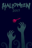 Halloween 2017 background template set, devil monster hand. With lollipops candy concept design and halloween 2017 text illustration isolated on dark blue Royalty Free Stock Images