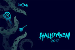 Halloween 2017 background template set, kraken monster tentacles Stock Image