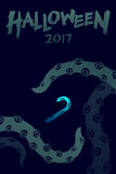 Halloween 2017 background template set, kraken monster tentacles Stock Photography