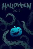 Halloween 2017 background template set, kraken monster tentacles Stock Photo