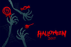 Halloween 2017 background template set, skeleton monster hand. With candy concept design and halloween 2017 text illustration isolated on dark blue background Royalty Free Stock Photo