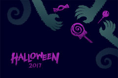 Halloween 2017 background template set, werewolves monster hand. With candy concept design and halloween 2017 text illustration isolated on dark blue background Stock Images