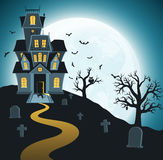 Halloween background with tombs, trees, bats, tombstones. Royalty Free Stock Images