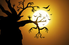 Halloween background. Tree and bat Halloween backgrounds vector illustration