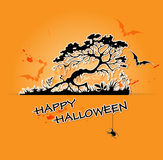 Halloween  background with tree and bats Royalty Free Stock Photography