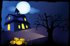 Halloween background with tree and house Stock Image