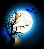 Halloween background with tree. Halloween vector background with silhouette of tree and owl vector illustration