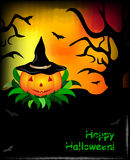 Halloween background with trees and pumpkin. With text area Royalty Free Stock Photography