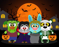 Halloween background trick or treat animals vector illustration