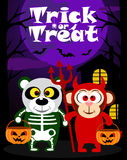 Halloween background trick or treating with animal Stock Photo