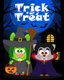 Halloween background trick or treating with animal, vector Stock Image