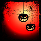 Halloween background - two pumpkins and cobweb Stock Photography