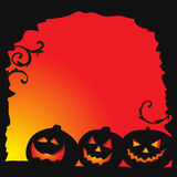 Halloween background - two pumpkins and cobweb Stock Photos